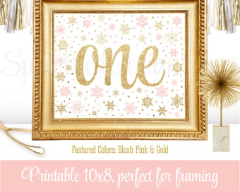 Winter Onederland Party Decorations - Our Little Snowflake Birthday Decor - Blush Pink Gold Glitter - Number One 1 Sign - 8x10 JPG