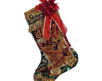Ballroom dancer Christmas stocking, a custom handmade one-of-a-kind holiday decoration