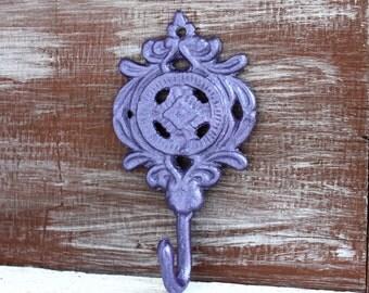 Purple Wall Hook, Key Holder, Metallic Amethyst Purple Nursery Decor, Decorative Wall Hooks, Key Hook, Bathroom Decor, Small Purple Hook