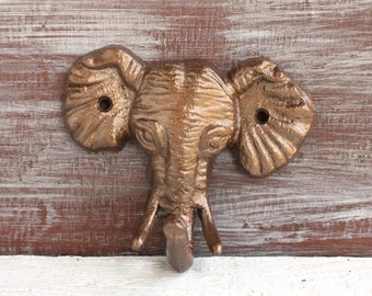 Elephant Home Decor, Elephant Hook, Wall Hook, Bronze Hook, Elephant Nursery, Safari Nursery Decor, Faux Animal Hook, Cast Iron Hook
