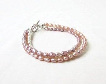 Freshwater pearl bridal bracelet, peach, bronze and white pearl, handmade in the UK