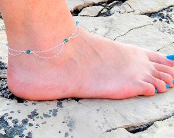 Silver Swarovski anklet, Swarovski crystal anklet, ankle bracelet, sterling silver, small swarovski blue crystals shinny colorfull ankle 087