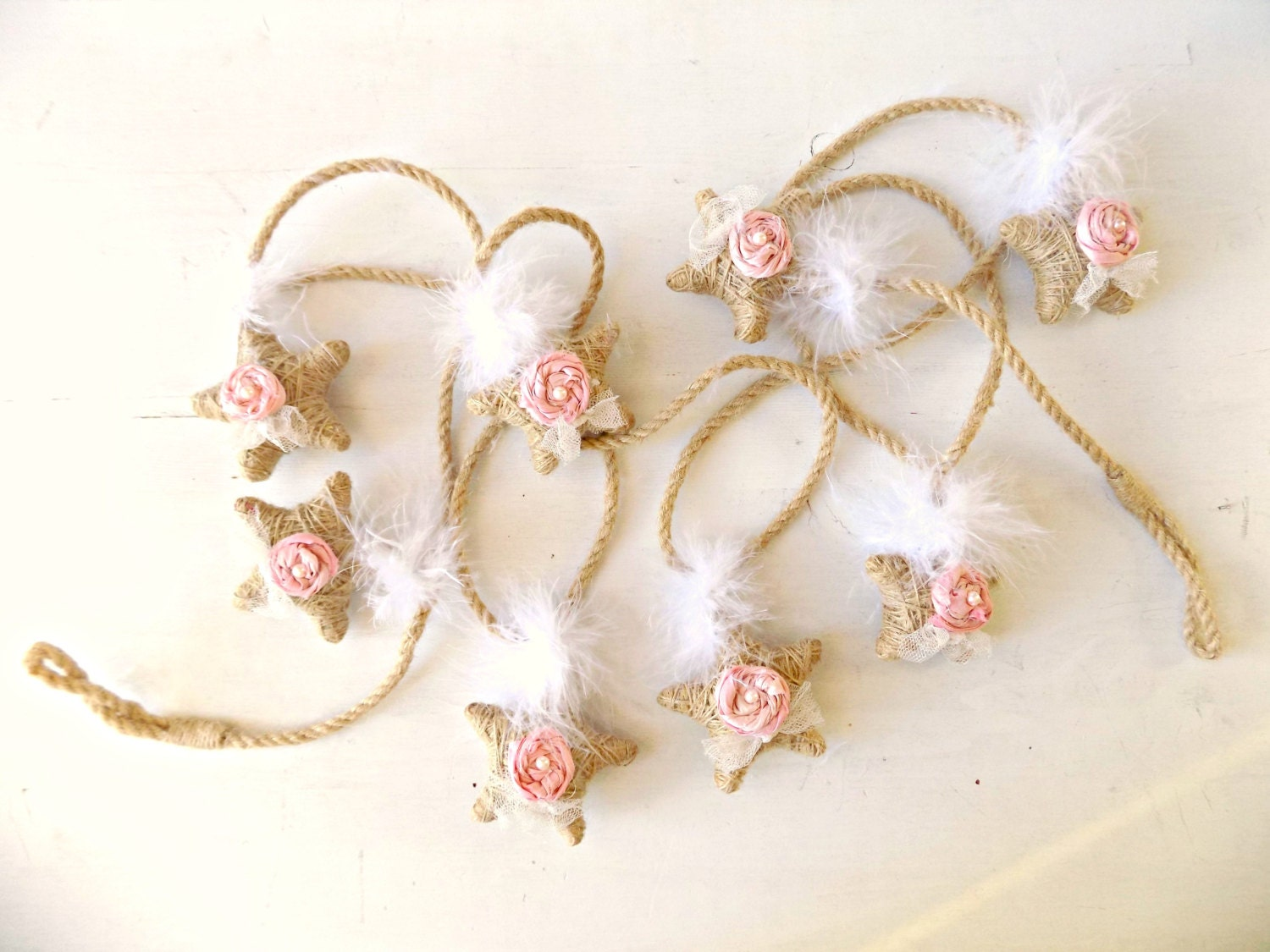 Shabby chic star garland mantle decor cottage christmas pink for Shabby chic garland lights
