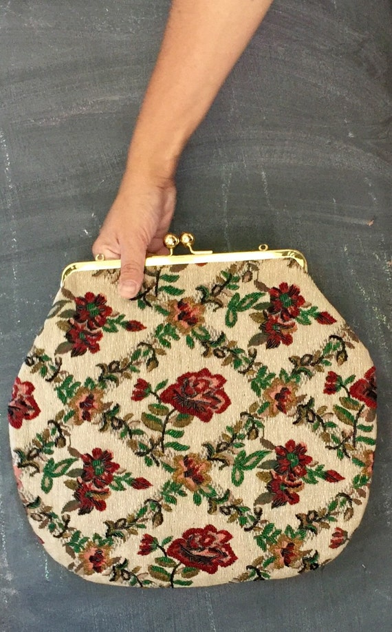 40s Oversized Beaded Tapestry Purse/clutch