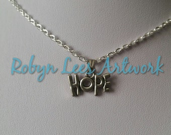 Small Silver Hope Word Necklace on Silver Crossed Chain or Black Faux Suede Cord