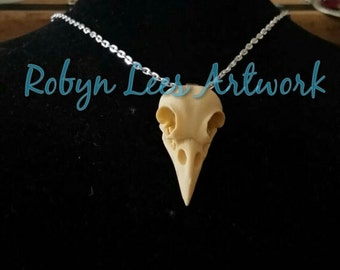Large Resin Raven Crow Bird Skull Necklace on Silver or Bronze Crossed Chain, Animal Anatomy, Gothic Anatomical