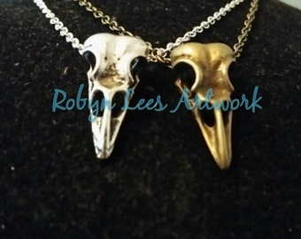 Silver and Bronze Raven Crow Bird Skull Necklaces on Silver or Bronze Crossed Chain or Black Faux Suede Cord