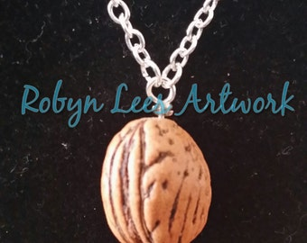 Simple Walnut Silver Necklace with Realistic Looking Nut Charm Bead on Silver Crossed Chain