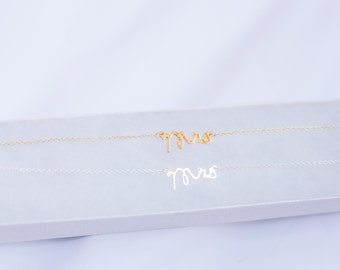 Mrs. Necklace, Gold Necklace, Silver Necklace, Bridal Shower Gift, Gift for Bride, Bride to be gift, Bachelorrette, New Bride
