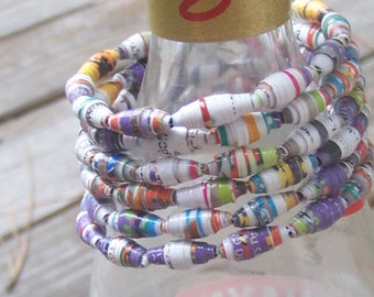 Colorful recycled magazine memory wire paperbead bracelet