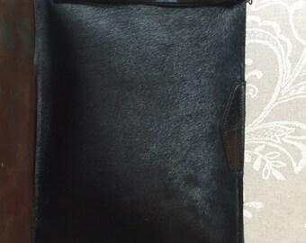 Black cowhide clutch, Evening cow hide purse, Luxury Ipad Case, black leather clutch