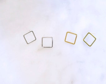 Open Square Post Earring in Gold Silver Plated / simple modern geometric jewelry