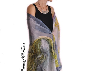 Extravagant evening wrap. Wedding gift. Gustav Klimt inspired Wearable art. Bedroom wall decor. 50 shades of Grey Nude art large silk scarf.
