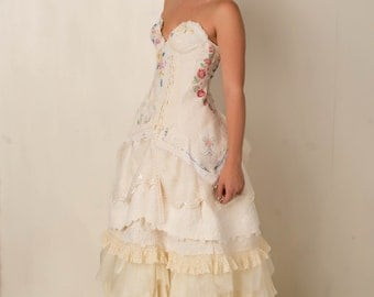 Wildflower Embroidered Wedding Gown Corset Bridal Story Book Romance Dress