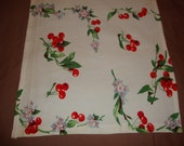 Vintage WILENDUR Cotton Towel or Table Runner with Clusters of Red Cherries and Blue Flowers Summer Classic Mid Century Bold Colors