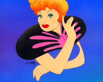 Lucille Ball original airbrush painting by Disney Artist Dave Woodman