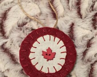 Burgundy Felt Maple Leaf Penny Ornament