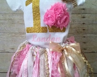 Pink and Gold Birthday Tutu Outfit, 3D Cupcake 1st Birthday Outfit, Birthday Outfit, Fabric Tutu Outfit