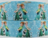 "3 Yards 1"" Frozen Fever Blue Inspired Grosgrain Ribbon-Hairbow supply-Printed-Girls-Party Decor-Supplies-Ribbon belt"