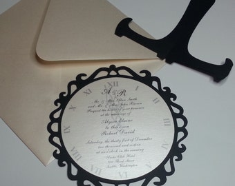 Set of 12 NYE Wedding Invitations - New Years Eve Wedding Invitations RSVP Cards Included