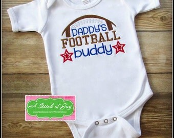 Daddy's Football Buddy Football Saying Embroidery Design - football embroidery design
