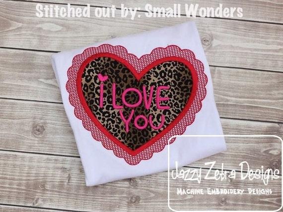 I love you heart Appliqué Embroidery Design - Valentines Day appliqué design - Valentine appliqué design