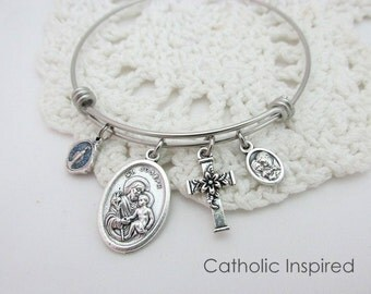 St. Joseph Bangle - Catholic Bracelet Jewelry - Miraculous Medal Cross Lily Holy Family Stainless Steel