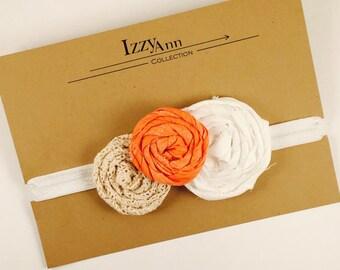 Vintage Orange Flower Headband, Flower Headband, Vintage Headband, Newborn Headband, Hair Accessories, Girls Headband, Newborn Photo Prop