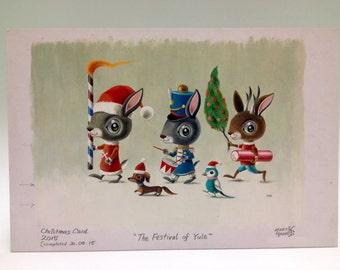 Christmas bunnies, The FESTIVAL OF YULE original artwork, painting by Martin Harris