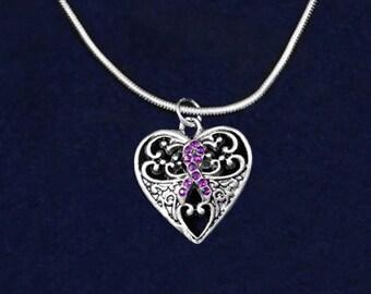 Decorative Heart Purple Ribbon Necklace (RE-NHRTCHARM05-4)