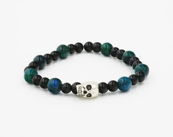 Black Blue Skull Stretchy Beaded Bracelet FREE SHIPPING