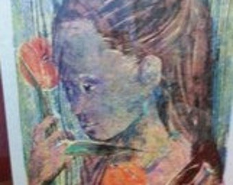 Vintage Nancy Nemec Signed Woodblock Print Mid Century Modern Art Signed 1962