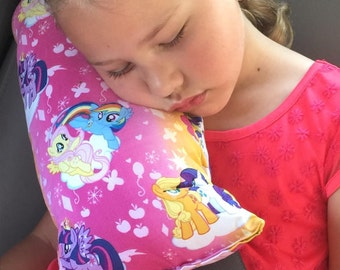 Seat Belt Pillow-My Little Pony On Clouds-Travel Pillow-Booster Seat Pillow