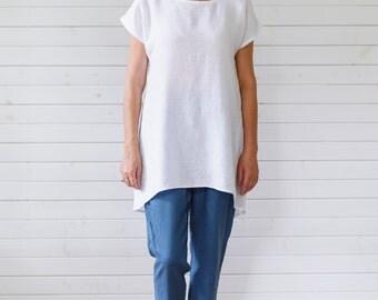 Linen tunic, Tunic shirt, White linen summer tunic, Linen tunic shirt, Flax tunic, Linen top, Flax top, Oversized tee, Linen oversized tee