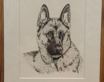 Custom Ink Pet Portrait, 8x10, Matted to 11x14, Head and Shoulders
