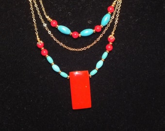 """Stunning 21"""" Red Coral, Turquoise and Gold Necklace"""