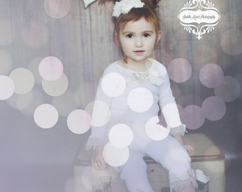 Ivory Silk Rolled Rosette Headband with Sparkling Rhinestone and Pearls. Baby Headband, Photo Prop, Special occasions