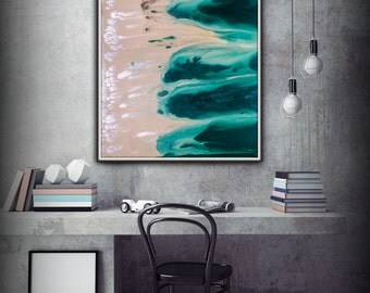 Abstract Art Green Wall Art Coastal Landscape Giclee Large PRINT on Canvas Large Office Art Modern Home Decor Wall Art Painting Print