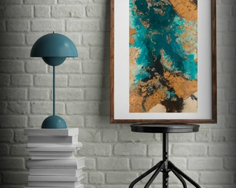 Teal And Copper Abstract Art Large Abstract Print Neutral Colors Vertical Painting Kitchen