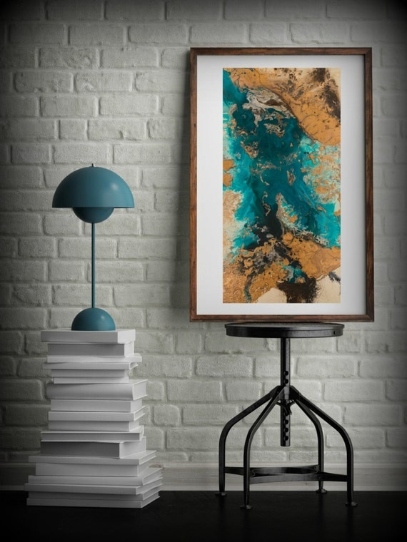 Large Vertical Wall Art teal and copper abstract art large abstract print neutral