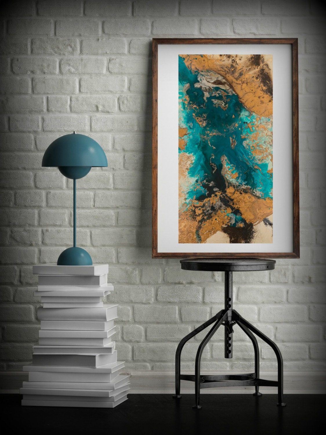 Teal and Copper Abstract Art, Large Abstract Print ...