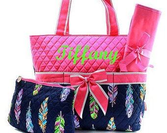 Diaper Bag Baby Diaper Bag Personalized Diaper Bag  Monogrammed Hot Pink Feather Diaper Bag Embroidery Monogram Monogrammed Diaper Bag