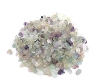 Rainbow Flourite Gemstone Chips, Pre Drilled Flourite Chips, Gemstone Chip Beads