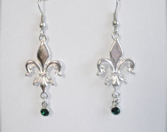 Emerald Rhinestone Fleur De Lis Earrings, Silver Fleur De Lis Earrings, Emerald Green Dangle Earrings, Fleur De Lis Earrings, Gift For Her