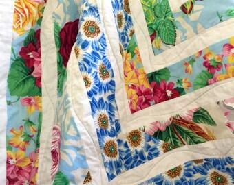 Floral quilt patchwork blanket