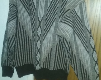 vintage 80s beige and dark brown abstract sweater