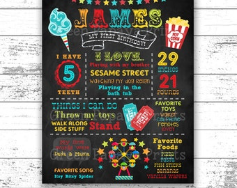 Carnival First Birthday Chalkboard Poster - Printable - Boy's Birthday - Any Age - 1st Birthday - Circus - 1st Birthday - Digital