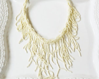 Cream Seaweed Beaded Necklace