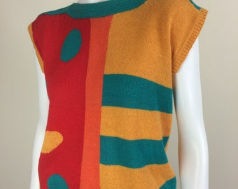 bright color block cotton sweater top 80's 90's
