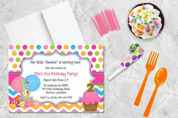 Birthday Invitations, Bright Dots, Bright Chevron, Chevron, Candy, Party Invitations, Shower Invitations, Custom Invitations